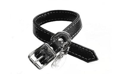 Lederhalsband, schwarz, für Welpen und kleine Hunde