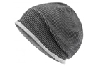 James & Nicholson Structured Beanie Stretchfleece-Mütze, black/grey-heather