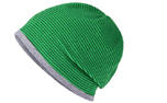 James & Nicholson Structured Beanie Stretchfleece-Mütze, fern-green/grey-heather
