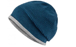 James & Nicholson Structured Beanie Stretchfleece-Mütze, navy/grey-heather