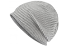 James & Nicholson Structured Beanie Stretchfleece-Mütze, off-white/grey-heather