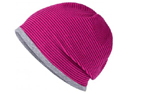 James & Nicholson Structured Beanie Stretchfleece-Mütze, pink/grey-heather