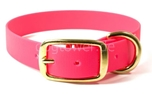 Mystique Halsband Biothane Deluxe (Messing), neon-pink