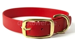 Mystique Halsband Biothane Deluxe (Messing), rot
