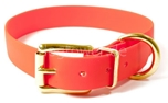 Mystique Hundehalsband Biothane (Messing), neon-orange