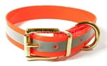 Mystique Hundehalsband Biothane (Messing), reflex-orange